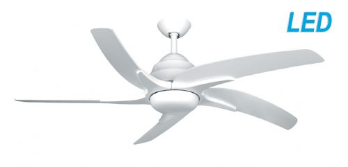 "Fantasia Elite Viper Plus 54"" White Ceiling Fan + Remote Control +  LED Light 116066"